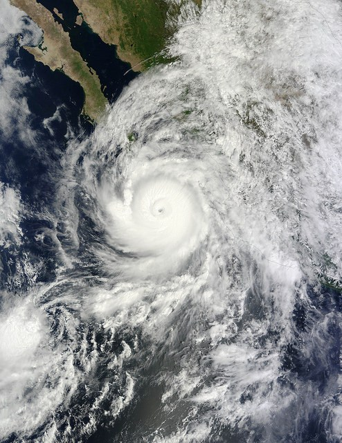 Hurricane Odile engulfs Baja Sur in 2014.  Photo credit NASA images.